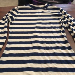 Cream and navy striped dress